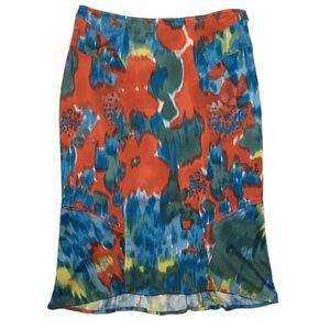 Yigal Azrouel Colorful Abstract Floral Skirt Sz 2